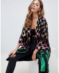 ASOS DESIGN Checkerboard Sequin Kimono