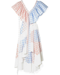 Loewe Convertible Cutout Twill And Gingham Poplin Dress