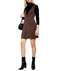 Topshop Check Button Front Pinafore Dress