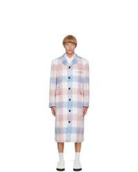 Thom Browne Blue And Pink Mohair Chesterfield Coat