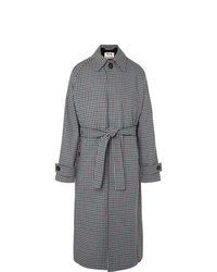 Acne Studios Oversized Belted Gingham Wool Blend Coat