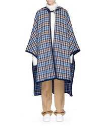Stella McCartney Check Wool Blend Hooded Poncho