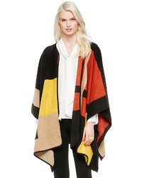 Vince Camuto Colorblock Blanket Jacquard Poncho