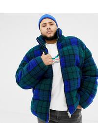 ASOS DESIGN Plus Borg Puffer Jacket In Blue Check