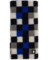 Marcelo Burlon County of Milan Blue Grey Wool Checkerboard Scarf