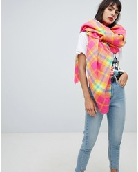 ASOS DESIGN Oversized Bright Pink Check Square Scarf