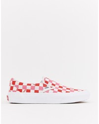 Vans Red And Pink Checkerboard Slip On Trainers