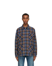 Gucci Blue Check Tiger Patch Jacket