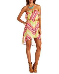 Charlotte Russe Chevron Chiffon High Low Dress