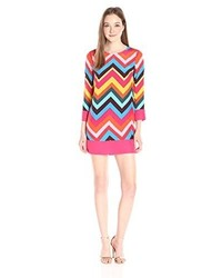 Juicy couture black label silk del mar chevron dress medium 563671