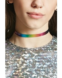 Forever 21 Faux Leather Rainbow Choker
