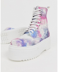 ASOS DESIGN Acton Chunky Lace Up Boots In Tie Dye