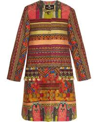 Etro Pompom Embellished Woven Coat