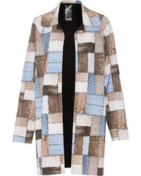 Norma Kamali Reversible Patchwork Effect Stretch Jersey Coat