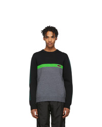 Kenzo Black And Green Colorblock Sweater