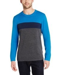 DKNY Jeans Long Sleeve Color Block Crew Neck Sweater