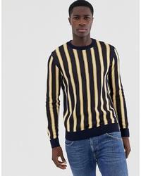 8b5ec430972d ... Jack   Jones Originals Knitted Jumper With Vertical Stripe In Navy