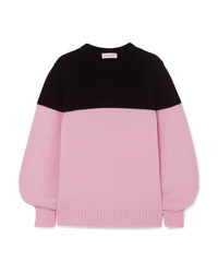Alexander McQueen Two Tone Ribbed Cashmere Sweater