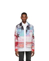 Balmain Multicolor Denim Palm Tree Jacket