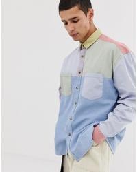 ASOS DESIGN Oversized 90s Style Cut Sew Denim Shirt In Pastels