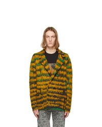 Saint Laurent Yellow And Green Abstract Feather Double Breasted Cardigan