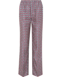 Prada Printed Silk Satin Twill Straight Leg Pants