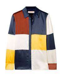 Tory Burch Reese Color Block Silk Satin Shirt