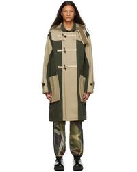 Sacai Beige Khaki Wool Toggle Coat