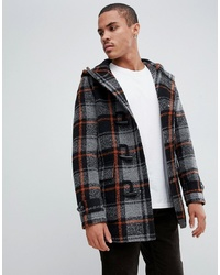 ASOS DESIGN Wool Mix Duffle Coat With Orange Black