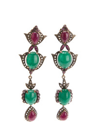 Petralux Emerald And Diamond Vintage Style Earrings
