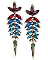 Betsey Johnson Gold Tone Multi Colored Faceted Stone Linear Earrings
