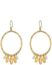 Lucky Brand Tri Tone Dangle Hoop Earrings Earring