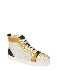 Christian Louboutin Crystal Embellished Glitter High Top Sneaker