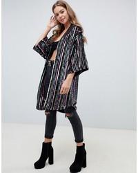ASOS DESIGN Stripe Sequin Kimono