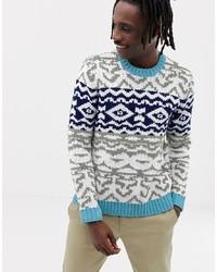 Multi colored Fair Isle Crew-neck Sweater