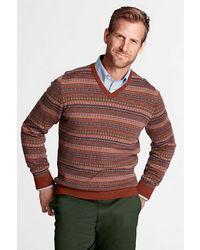 Multi colored Fair Isle V-neck Sweater