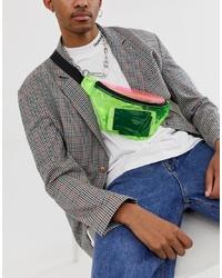 ASOS DESIGN Cross Body Bum Bag In Neon Plastic Colour Block