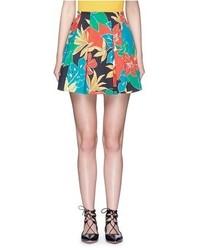 Alice + Olivia Connor Floral Print Box Pleat Skirt