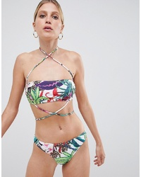 Missguided Strap Detail Mixed Print Bikini Top