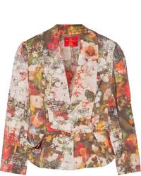 Red label floral print twill blazer medium 305967
