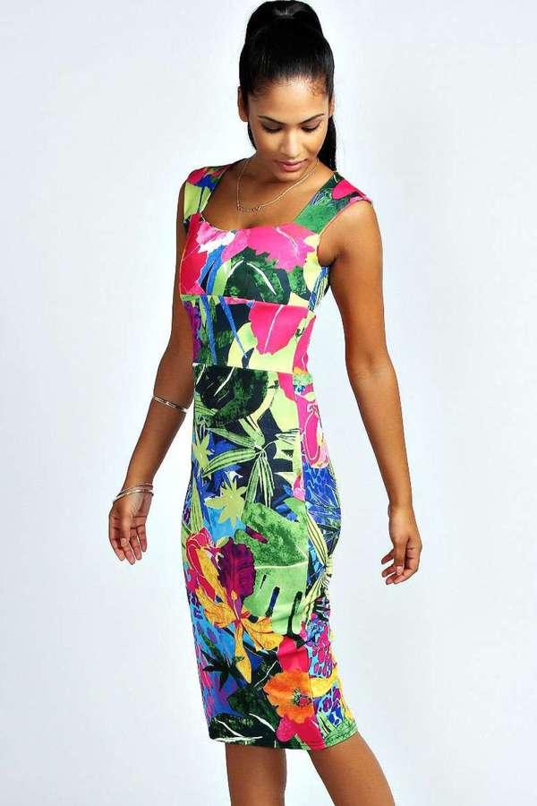 multi colored floral bodycon dress boohoo myla tropical