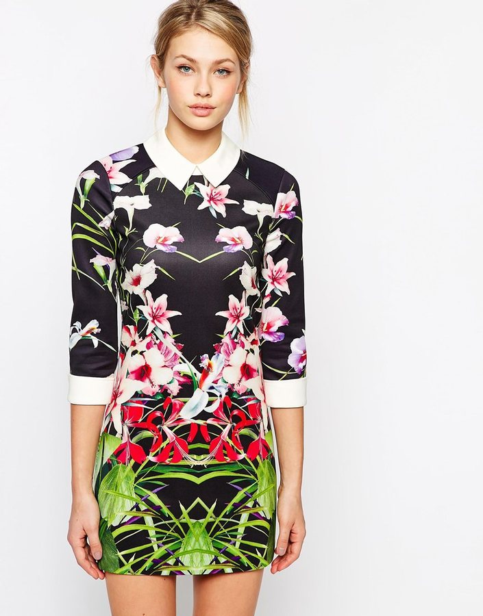 42547455d4cc ... Floral Bodycon Dresses Ted Baker Dress In Mirrored Tropical Print ...