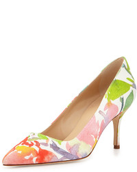 Manolo Blahnik Bb Floral Watercolor Point Toe Pump