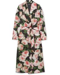 Dolce & Gabbana Floral Print Silk Charmeuse Robe