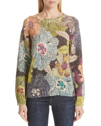 Etro Floral Knit Cotton Blend Sweater