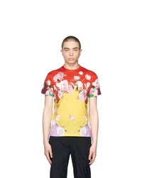 Valentino Multicolor Flying Flowers Print T Shirt