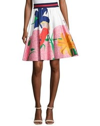 Alice + Olivia Earla High Waist Flare Skirt Multi