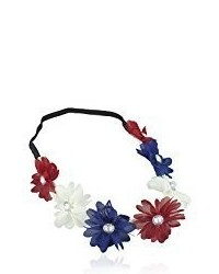 Lux Accessories Red White Blue American Flag Patriotic Floral Flower Crown Stretch Headband