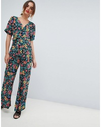 Mango Deep V Floral Printed Jumpsuit In Multi