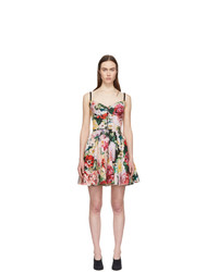 Dolce And Gabbana Multicolor Peonies Bustier Dress